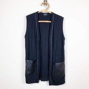 Sleeveless Longline Vest Faux Vegan Leather #B6